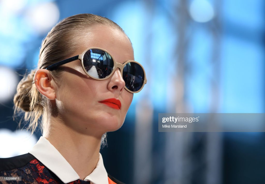A model showcases designs on the catwalk by Paul Smith on day 3 of London Fashion Week Spring/Summer 2013, at Central St. Martins, on September 16, 2012 in London, England.