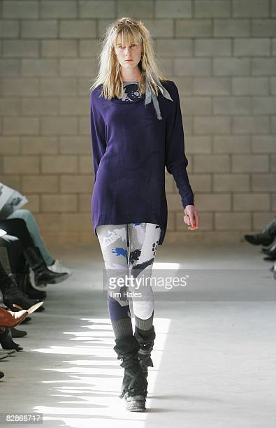 A model showcases designs on the catwalk by Salasai on the third day of Air New Zealand Fashion Week 2008 at Vector Arena Carpark on September 18...