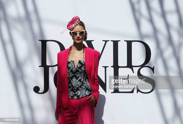 A model showcases designs on the catwalk during the David Jones show as part of Melbourne Spring Fashion Week 2013 at Hub Runway One on September 2...