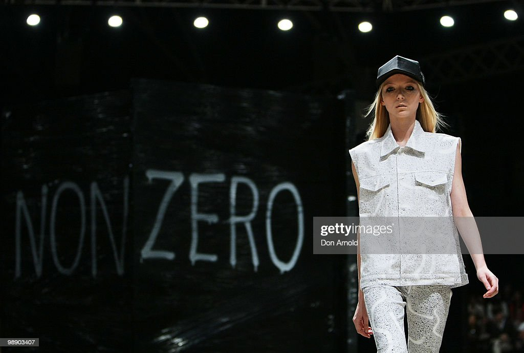 A model showcases designs on the catwalk during the Ksubi collection show on the fifth and final day of Rosemount Australian Fashion Week...