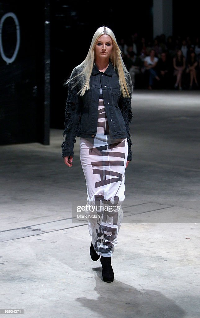 A model showcases designs on the catwalk during the Ksubi collection show closing the fifth and final day of Rosemount Australian Fashion Week...