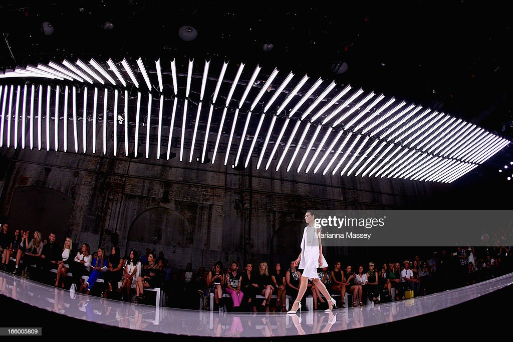 A model showcases designs on the runway at the Bec and Bridge show during Mercedes-Benz Fashion Week Australia Spring/Summer 2013/14 at Carriageworks on April 8, 2013 in Sydney, Australia.