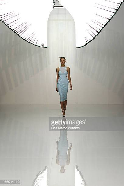 A model showcases designs on the runway at the Bec and Bridge show during MercedesBenz Fashion Week Australia Spring/Summer 2013/14 at Carriageworks...