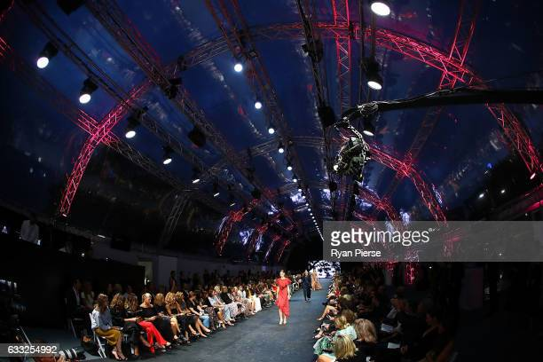 A model showcases designs on the runway at the David Jones Autumn Winter 2017 Collections Launch at St Mary's Cathedral Precinct on February 1 2017...