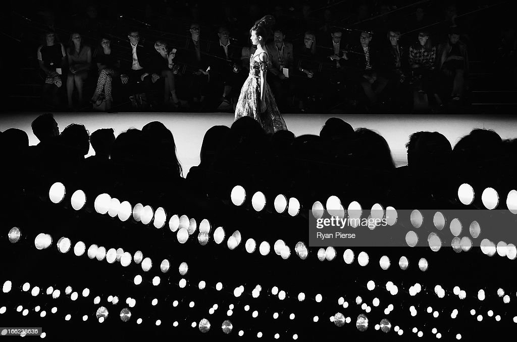 A Model showcases designs on the runway at the Easton Pearson show during MercedesBenz Fashion Week Australia Spring/Summer 2013/14 at Carriageworks...
