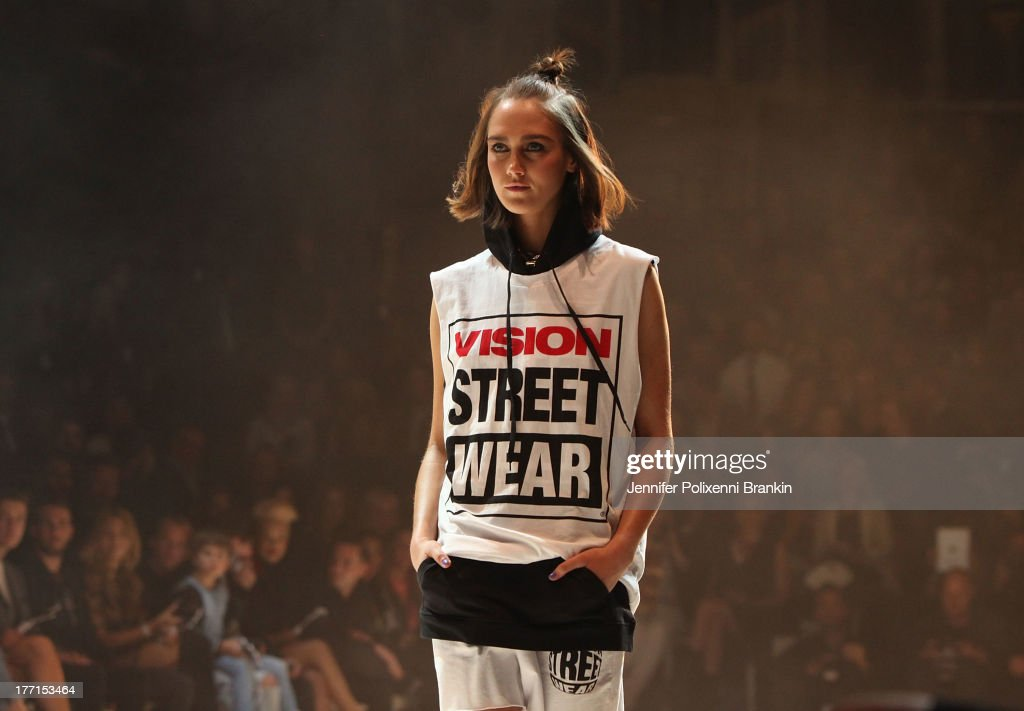 A model showcases designs on the runway at the General Pants show during Mercedes-Benz Fashion Festival Sydney 2013 at Sydney Town Hall on August 21, 2013 in Sydney, Australia.