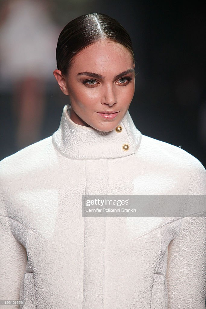 A model showcases designs on the runway at the Hello Elle Australia show during Mercedes-Benz Fashion Week Australia Spring/Summer 2013/14 at Carriageworks on April 12, 2013 in Sydney, Australia.
