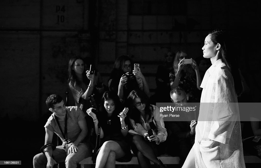 A model showcases designs on the runway at the Manning Cartell show during Mercedes-Benz Fashion Week Australia Spring/Summer 2013/14 at Carriageworks on April 9, 2013 in Sydney, Australia.