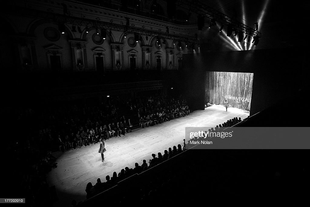 A model showcases designs on the runway at the MBFWA Trends show during Mercedes-Benz Fashion Festival Sydney 2013 at Sydney Town Hall on August 21, 2013 in Sydney, Australia.