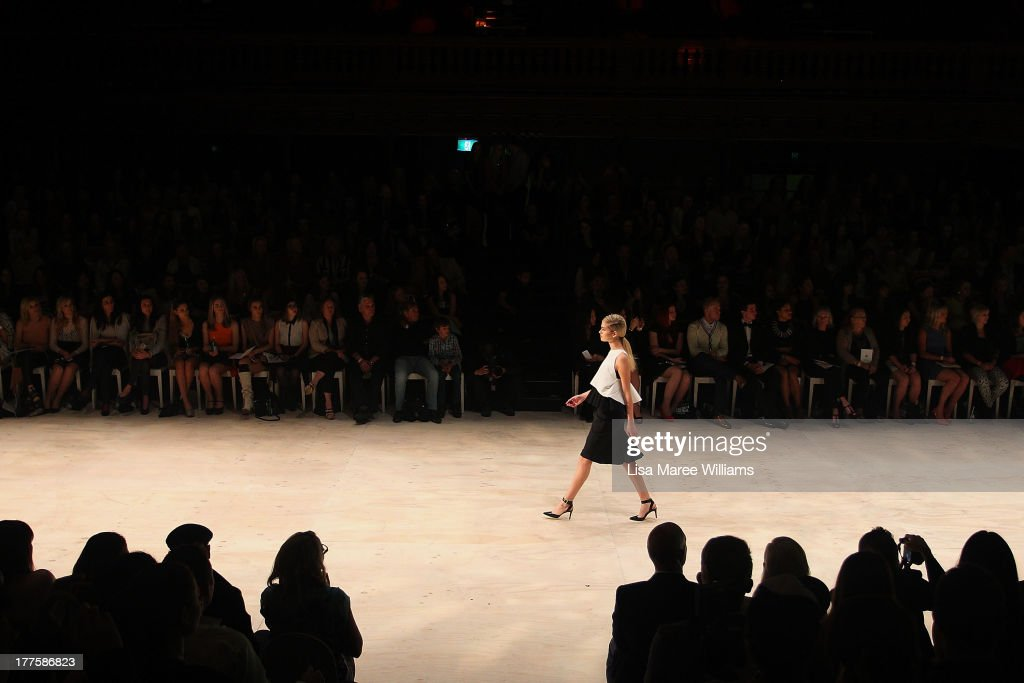 A model showcases designs on the runway at the MBFWA Trends show during Mercedes-Benz Fashion Festival Sydney 2013 at Sydney Town Hall on August 24, 2013 in Sydney, Australia.