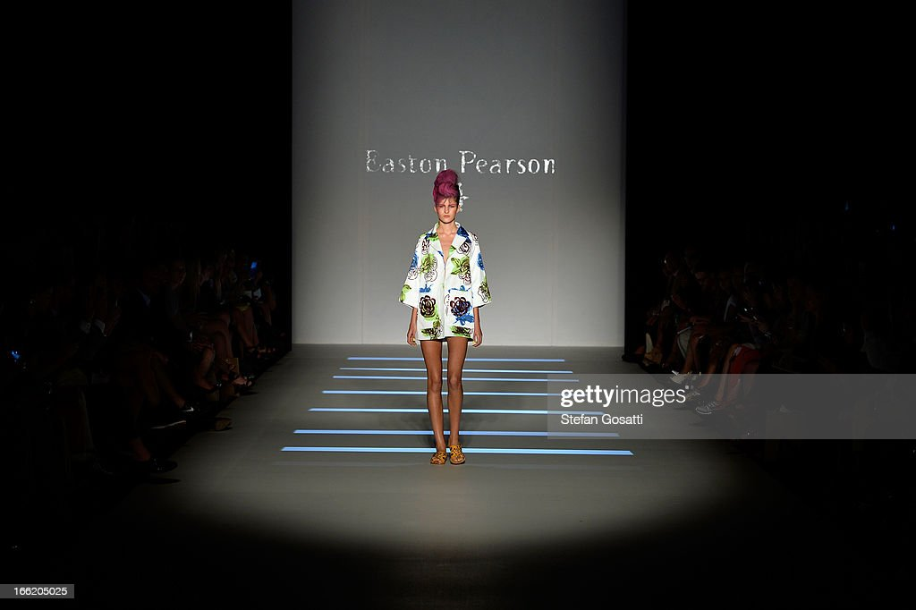 A model showcases designs on the runway at the MercedesBenz Presentes Easton Pearson show during MercedesBenz Fashion Week Australia Spring/Summer...