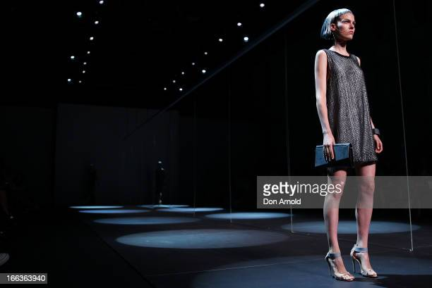 A model showcases designs on the runway at the Staple The Label show during MercedesBenz Fashion Week Australia Spring/Summer 2013/14 at...