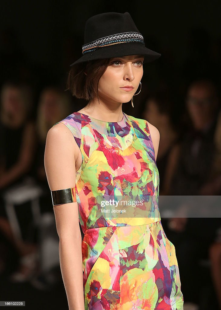 A model showcases designs on the runway at the Talulah show during Mercedes-Benz Fashion Week Australia Spring/Summer 2013/14 at Carriageworks on April 9, 2013 in Sydney, Australia.