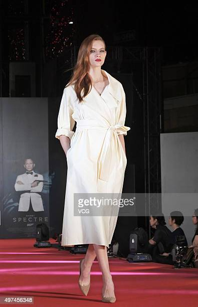A model showcases designs on the runway at Tokyo Bond Girl Collection for '007 Spectre' on November 16 2015 in Tokyo Japan