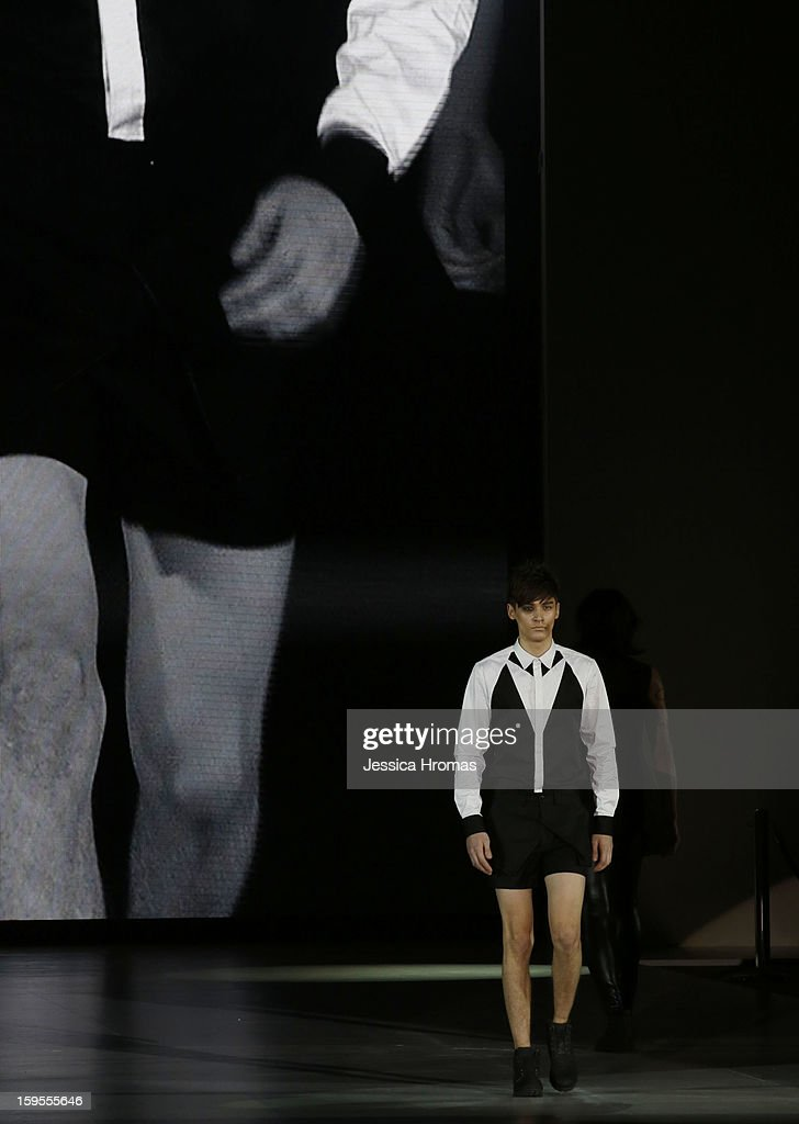 A model showcases designs on the runway by Chi Zhang during the Hong Kong Fashion Extravaganza show on day 1 of Hong Kong Fashion Week Autumn/Winter 2013 at the Hong Kong Convention and Exhibition Centre on January 14, 2013 in Hong Kong, Hong Kong.