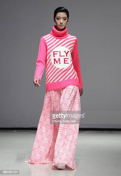 A model showcases designs on the runway during the ANDY and DEBB show as part of Seoul Fashion Week F/W 2014 on March 25 in Seoul South Korea