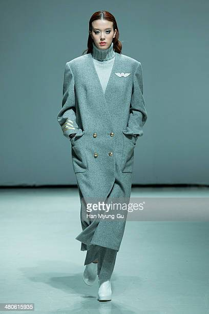 A model showcases designs on the runway during the ANDY and DEBB show as part of Seoul Fashion Week F/W 2014 on March 25 2014 in Seoul South Korea