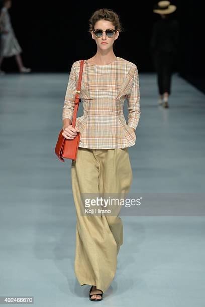 A model showcases designs on the runway during the beautiful people show as part of Mercedes Benz Fashion Week TOKYO 2016 S/S at Shibuya Hikarie on...