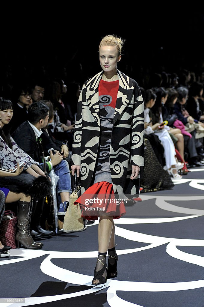 A model showcases designs on the runway during the DIANE von FURSTENBERG show as part of Mercedes Benz Fashion Week TOKYO 2014 A/W at Shibuya Hikarie on March 20, 2014 in Tokyo, Japan.
