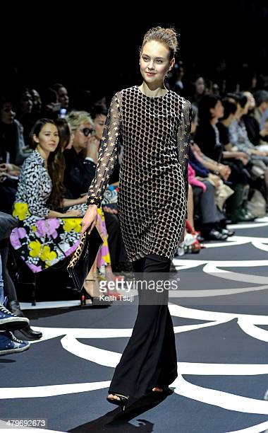 A model showcases designs on the runway during the DIANE von FURSTENBERG show as part of Mercedes Benz Fashion Week TOKYO 2014 A/W at Shibuya Hikarie...