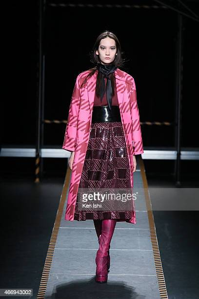 A model showcases designs on the runway during the House of Holland show as part of Mercedes Benz Fashion Week TOKYO 2015 A/W at Shibuya Hikarie on...