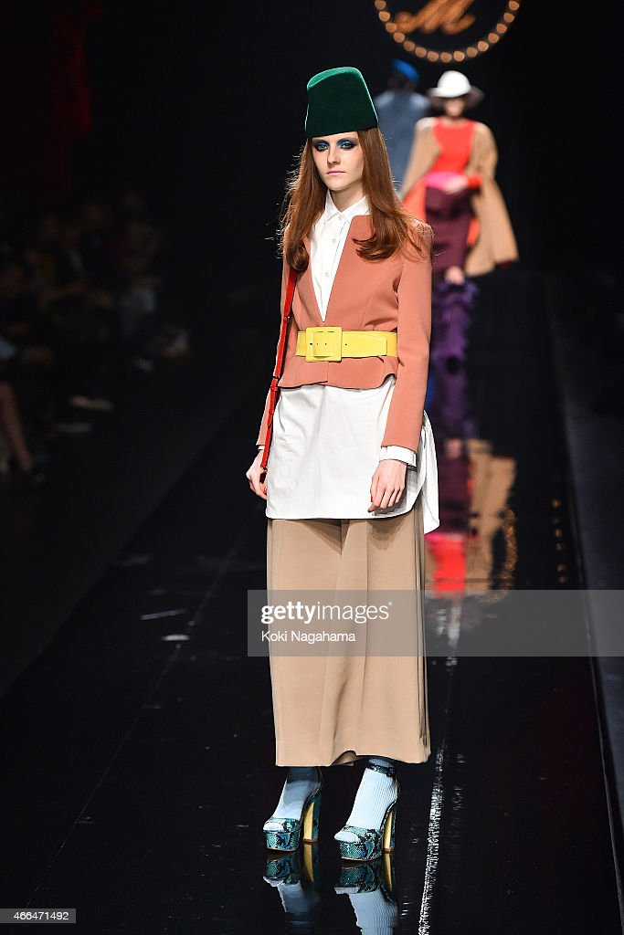 A model showcases designs on the runway during the KEITA MARUYAMA show as part of Mercedes Benz Fashion Week TOKYO 2015 A/W at Shibuya Hikarie on March 16, 2015 in Tokyo, Japan.
