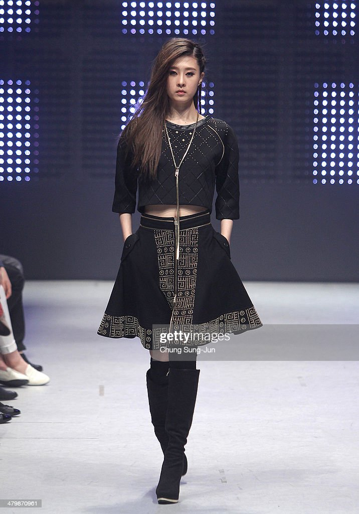 A model showcases designs on the runway during the MANODI show as part of Seoul Fashion Week A/W 2014 on March 21, 2014, in Seoul, South Korea.