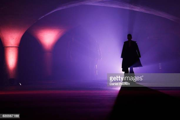 A model showcases designs on the runway during the media dress rehearsal ahead of the Myer Autumn 2017 Fashion Launch on February 16 2017 in...