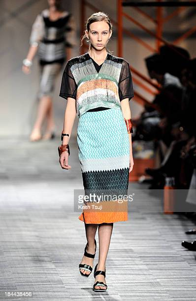 A model showcases designs on the runway during the Missoni show as part of Mercedes Benz Fashion Week Tokyo S/S 2014 at Hikarie Hall A of Shibuya...