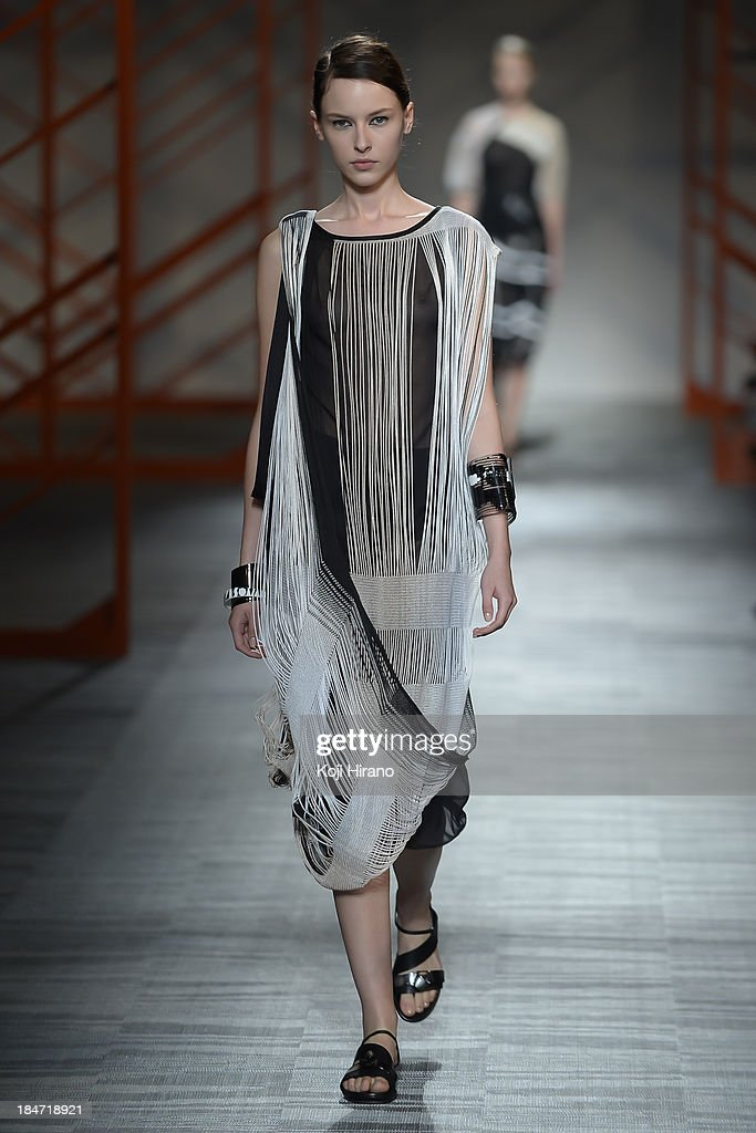 A model showcases designs on the runway during the Missoni show as part of Mercedes Benz Fashion Week TOKYO 2014 S/S at the Hikarie Hall A of Shibuya Hikarie on October 15, 2013 in Tokyo, Japan.