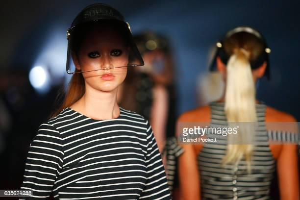 A model showcases designs on the runway during the Myer Autumn 2017 Fashion Launch on February 16 2017 in Melbourne Australia