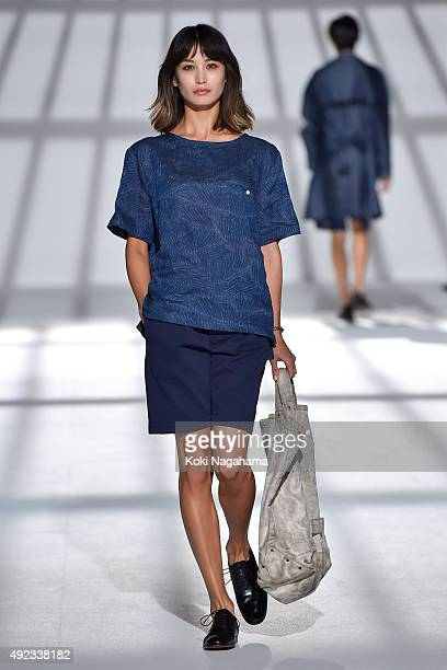 A model showcases designs on the runway during the Todd Snyder show as part of Mercedes Benz Fashion Week TOKYO 2016 S/S at Shibuya Hikarie on...