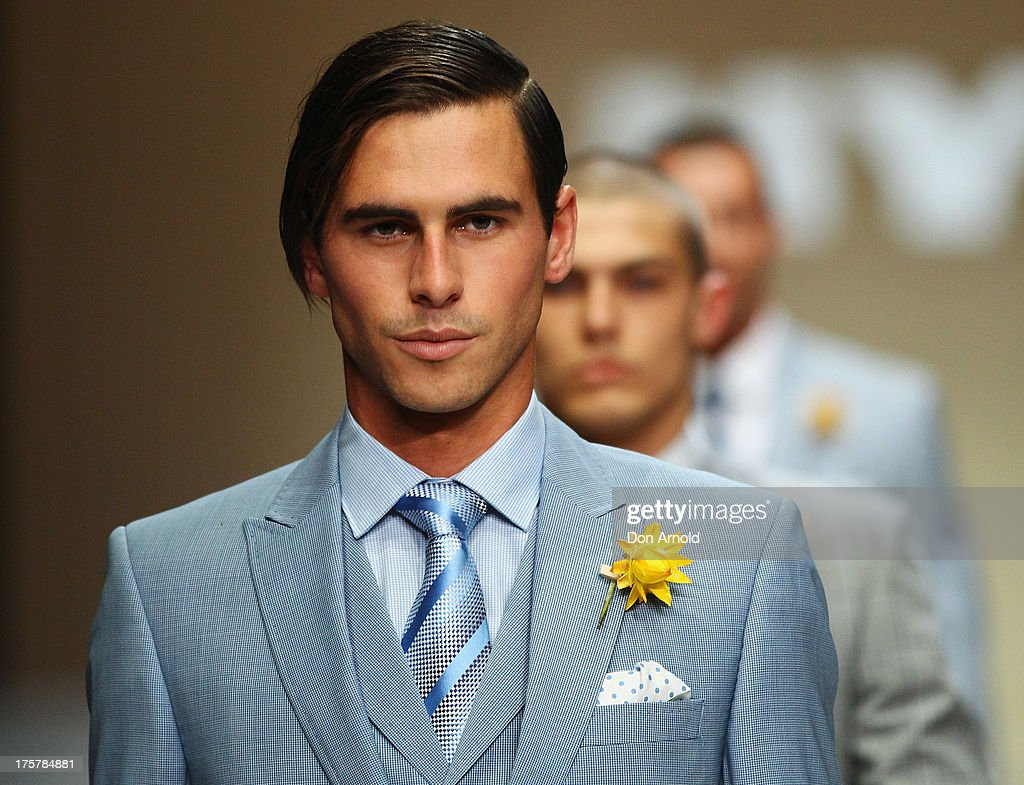 A model showcases desigs by Dom Bagnato at the Myer Spring/Summer 2014 Collections Launch at Fox Studios on August 8, 2013 in Sydney, Australia.