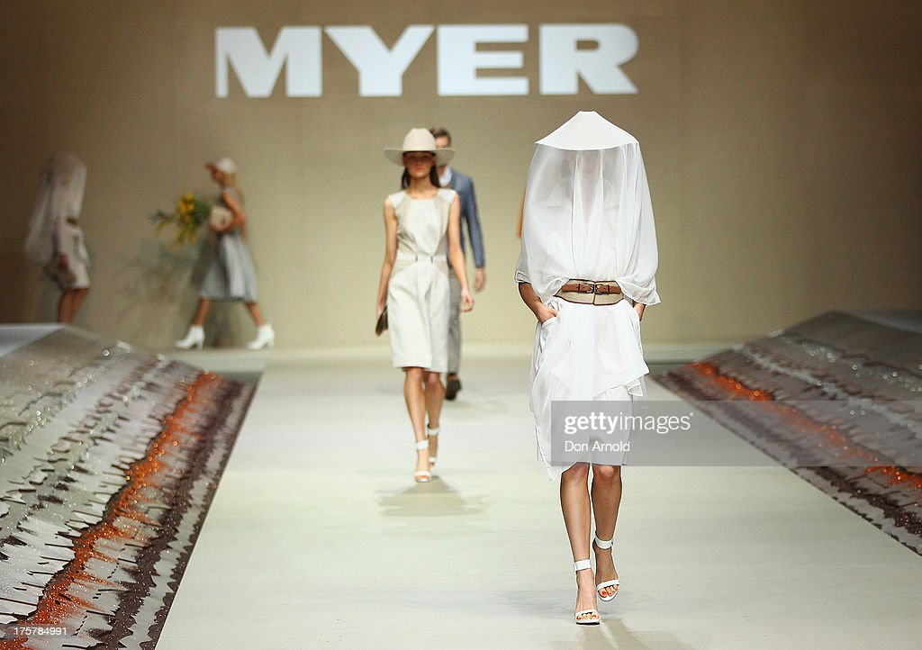A model showcases desigs by Trent Nathan at the Myer Spring/Summer 2014 Collections Launch at Fox Studios on August 8, 2013 in Sydney, Australia.