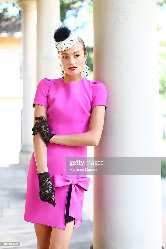 A model showcases race wear during the Melbourne Cup Carnival Spring Fashion Moment at The Mint Cafe on September 23, 2013 in Sydney, Australia.