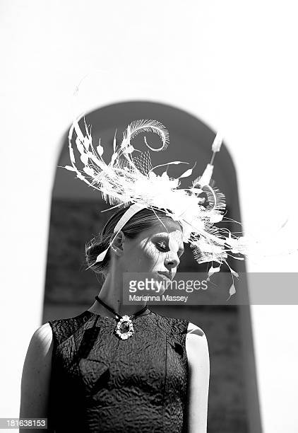 A model showcases race wear during the Melbourne Cup Carnival Spring Fashion Moment at The Mint Cafe on September 23 2013 in Sydney Australia