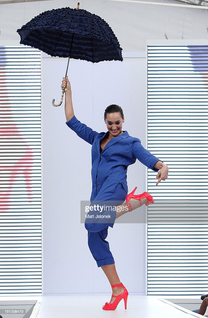 A model showcases shoe designs by Wittner on the catwalk on day 2 of Melbourne Spring Fashion Week 2012 at City Square on September 4, 2012 in Melbourne, Australia.