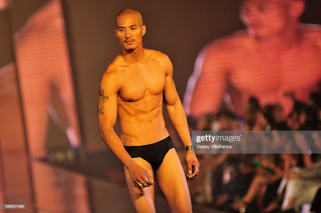 A model showcases underwear by fashion retail brand Bench at the 2013 Philippine Fashion Week Holiday at the SMX convention center in Pasay City on May 26, 2013 in Manila, Philippines.
