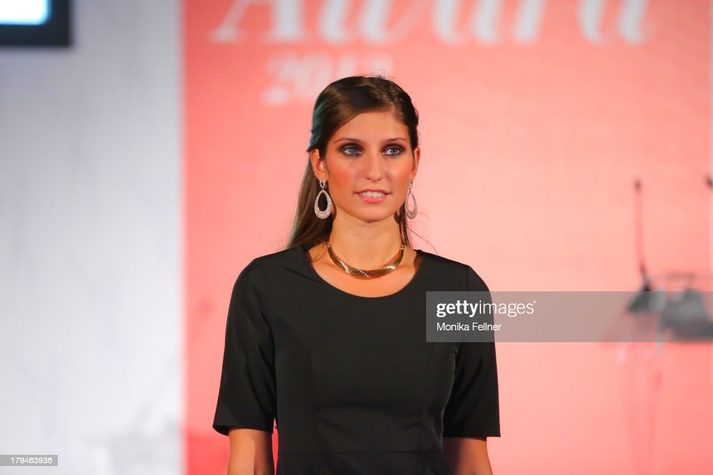 A model showcases Wempe designs on the catwalk during the Leading Ladies Awards 2013 at Belvedere Palace on September 3, 2013 in Vienna, Austria.