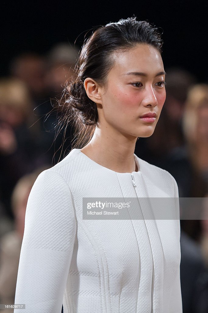 Model Shu Pei Qin walks the runway at Philosophy By Natalie Ratabesi during fall 2013 Mercedes-Benz Fashion Week on February 13, 2013 in New York City.