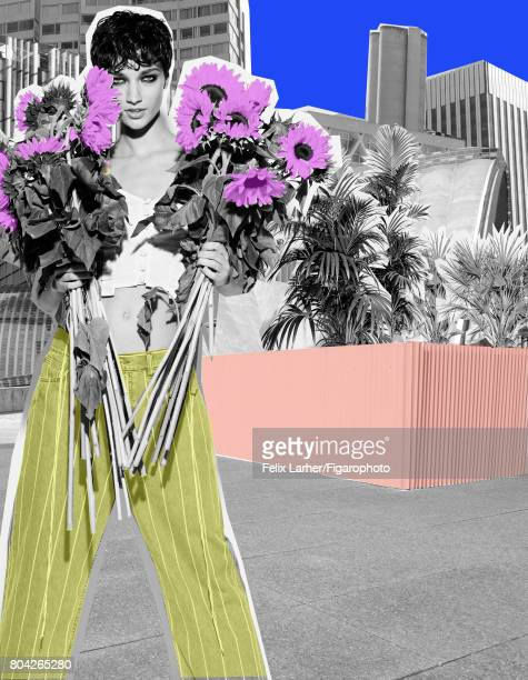 Model pose at a fashion shoot for Madame Figaro on May 18 2017 in Paris France Top jeans PUBLISHED IMAGE CREDIT MUST READ Felix...