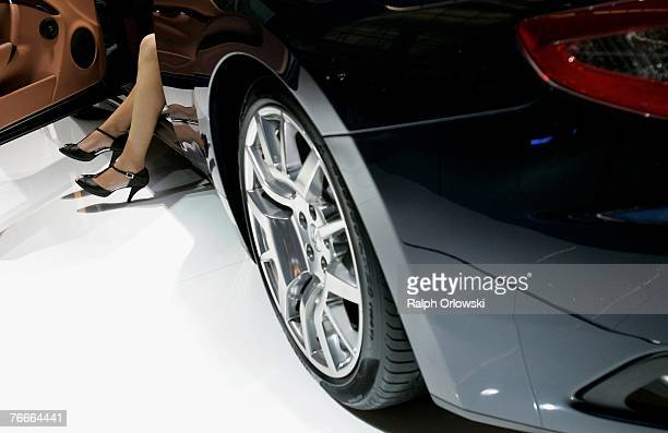 A model sits in a Maserati September 11 2007 in Frankfurt Germany On September 13 2007 the 62nd International Motor Show will be opend for public and...