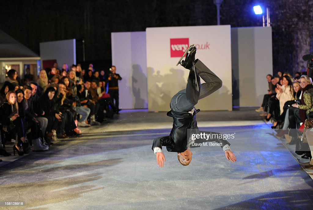A model skates during the UK's first Catwalk on Ice from Very.co.uk, held at the Tower of London Ice Rink, gave shoppers a more entertaining way to shop for their Christmas outfits this season at Tower of London on December 10, 2012 in London, England.