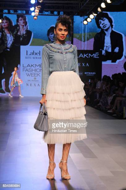 A model Sonalika Sahay walks on the ramp showcasing the creations of designer Ritu Kumar during the Lakme Fashion Week 2017 on August 16 2017 in...