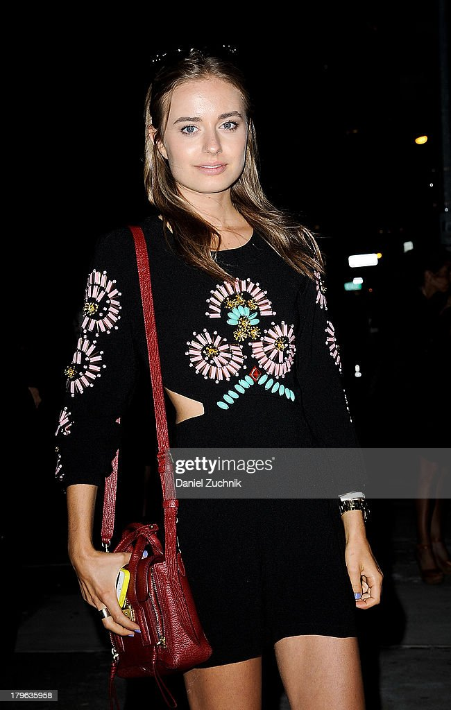 Model Sonya Esman is seen outside the Target launch celebration wearing a Romwe dress and a Phillip Lim purse on September 5, 2013 in New York City.