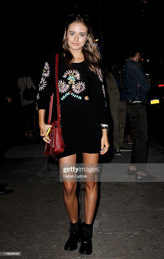 Model Sonya Esman is seen outside the Target launch celebration wearing a Romwe dress, Sandro boots and a Phillip Lim purse on September 5, 2013 in New York City.