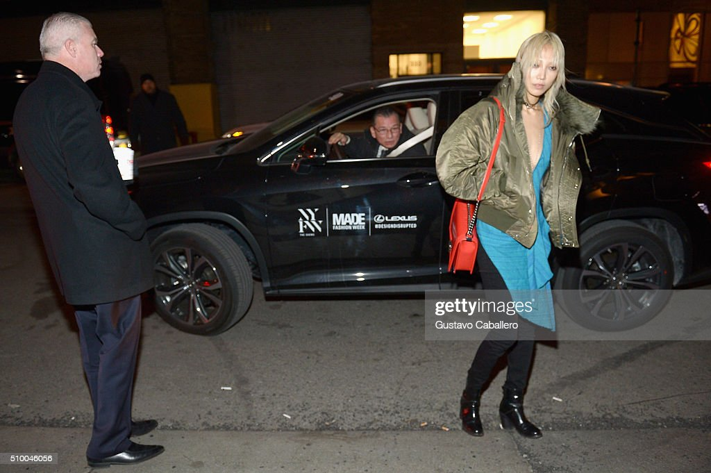 Model <a gi-track='captionPersonalityLinkClicked' href=/galleries/search?phrase=Soo+Joo+Park&family=editorial&specificpeople=10950683 ng-click='$event.stopPropagation()'>Soo Joo Park</a> arrives in a Lexus to the Baja East Fall 2016 Fashion show during Day 3 of New York Fashion Week: The Shows at Skylight at Moynihan Station on February 13, 2016 in New York City.