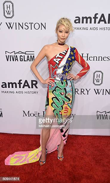 Model Soo Joo Park attends 2016 amfAR New York Gala at Cipriani Wall Street on February 10 2016 in New York City