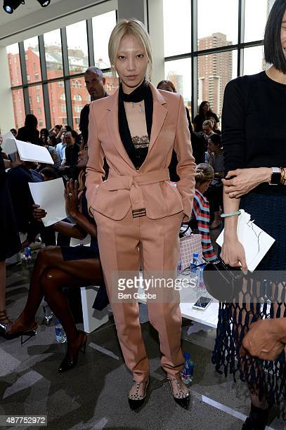 Model Soo Joo Park attends the Jason Wu fashion show during Spring 2016 New York Fashion Week at Spring Studios on September 11 2015 in New York City