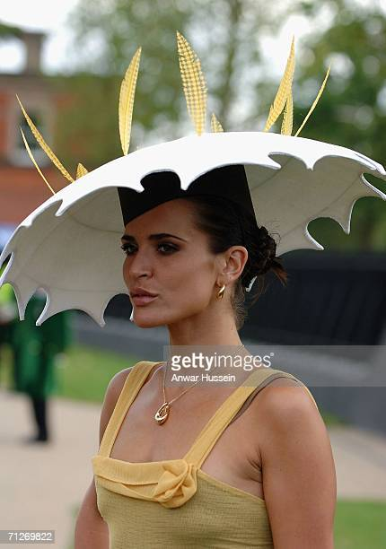 Model Sophie Anderton attends Ladies Day wearing a Millennium Dome style hat on the third day of Royal Ascot at the Ascot Racecourse on June 22 2006...